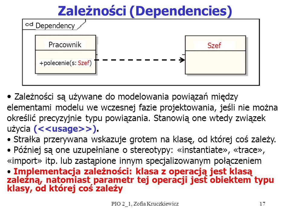 PIO 2_1, Zofia Kruczkiewicz17 Zależności (Dependencies) Zależności są używane do modelowania powiązań między elementami modelu we wczesnej fazie proje