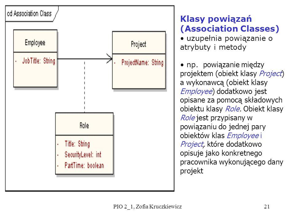 PIO 2_1, Zofia Kruczkiewicz21 Klasy powiązań (Association Classes) uzupełnia powiązanie o atrybuty i metody np. powiązanie między projektem (obiekt kl