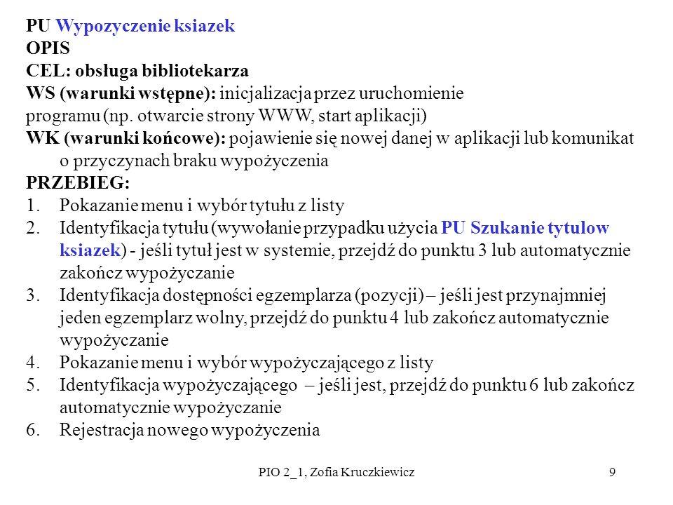 9 PU Wypozyczenie ksiazek OPIS CEL: obsługa bibliotekarza WS (warunki wstępne): inicjalizacja przez uruchomienie programu (np. otwarcie strony WWW, st