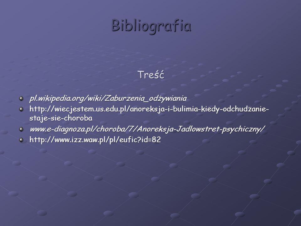Bibliografia Treśćpl.wikipedia.org/wiki/Zaburzenia_odżywiania http://wiecjestem.us.edu.pl/anoreksja-i-bulimia-kiedy-odchudzanie- staje-sie-choroba www.e-diagnoza.pl/choroba/7/Anoreksja-Jadlowstret-psychiczny/http://www.izz.waw.pl/pl/eufic?id=82