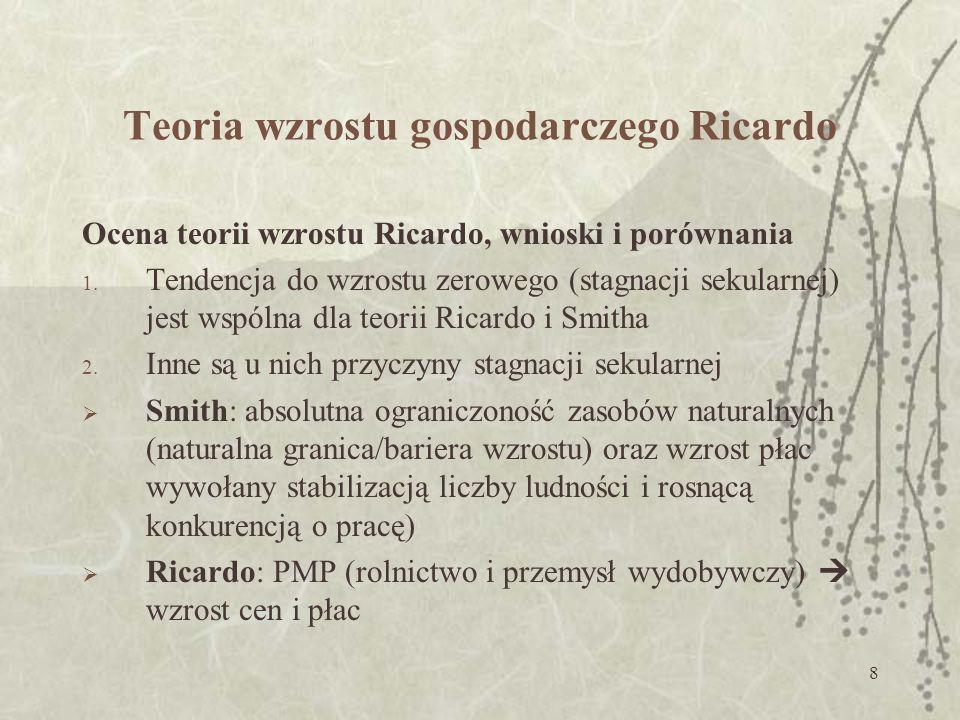 9 Teoria wzrostu gospodarczego Ricardo Ocena teorii wzrostu Ricardo, wnioski i porównania 3.