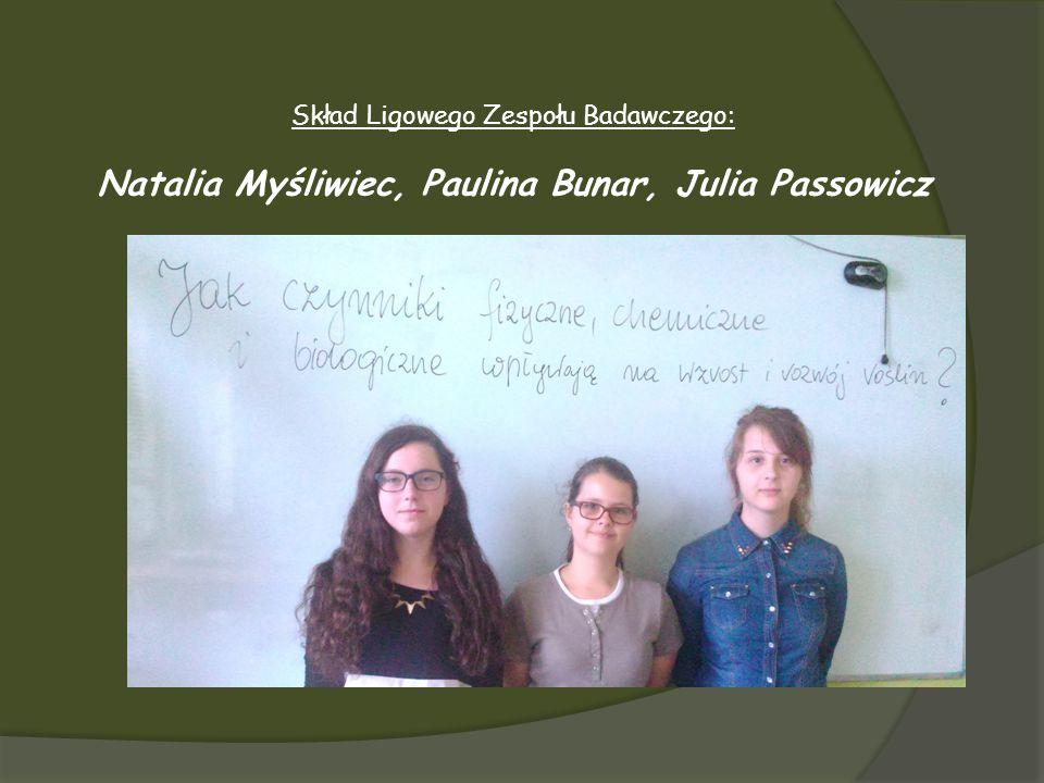 Skład Ligowego Zespołu Badawczego: Natalia Myśliwiec, Paulina Bunar, Julia Passowicz