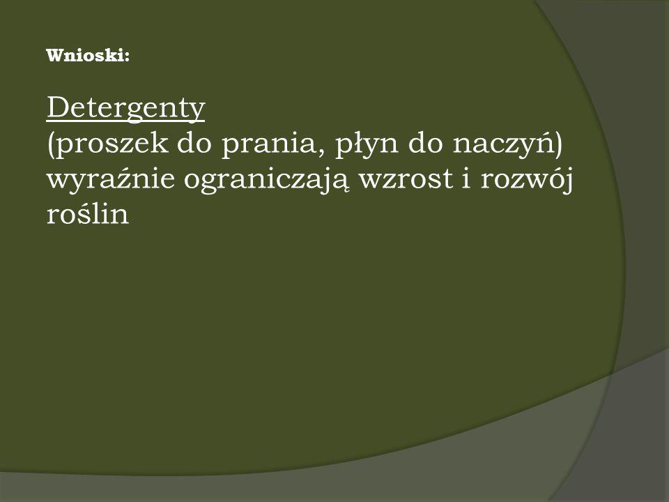 Wnioski: Detergenty (proszek do prania, płyn do naczyń) wyraźnie ograniczają wzrost i rozwój roślin