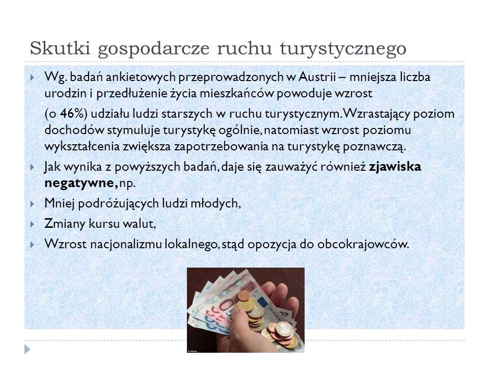 Skutki gospodarcze ruchu turystycznego  Wg.