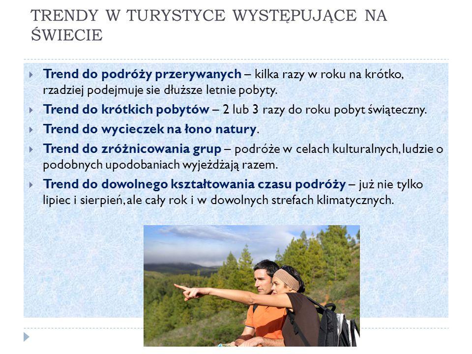 TRENDY W TURYSTYCE WYSTĘPUJĄCE NA ŚWIECIE  Trend do podróży przerywanych – kilka razy w roku na krótko, rzadziej podejmuje sie dłuższe letnie pobyty.