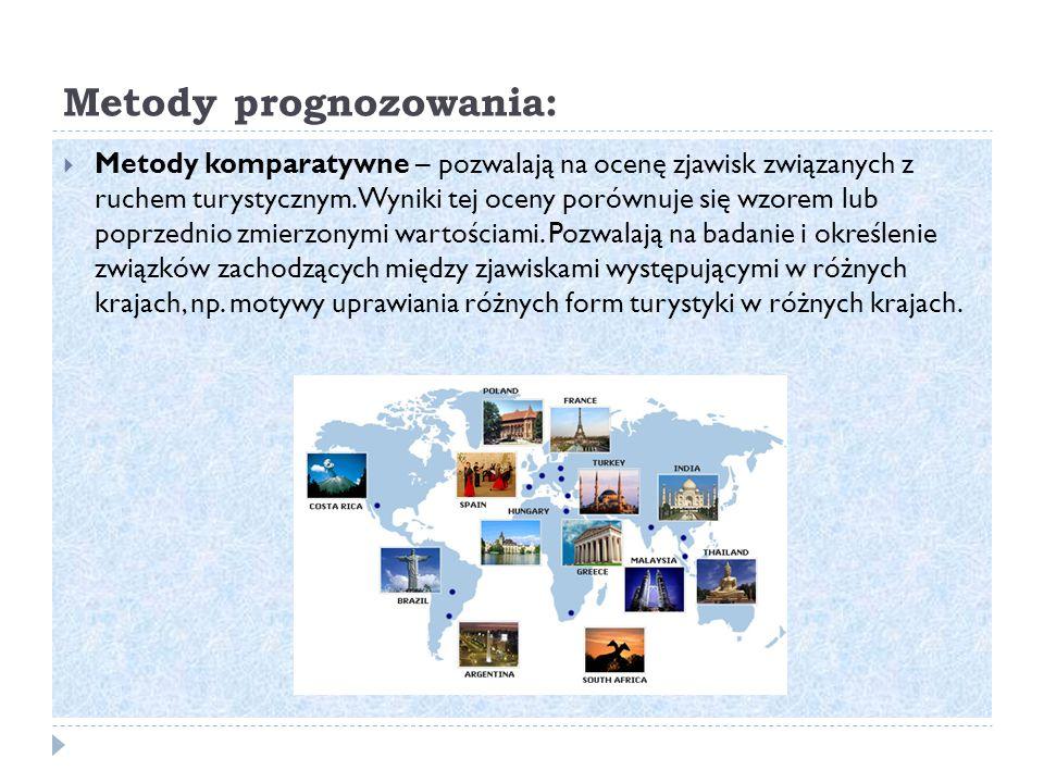 Metody prognozowania:  Metody komparatywne – pozwalają na ocenę zjawisk związanych z ruchem turystycznym.