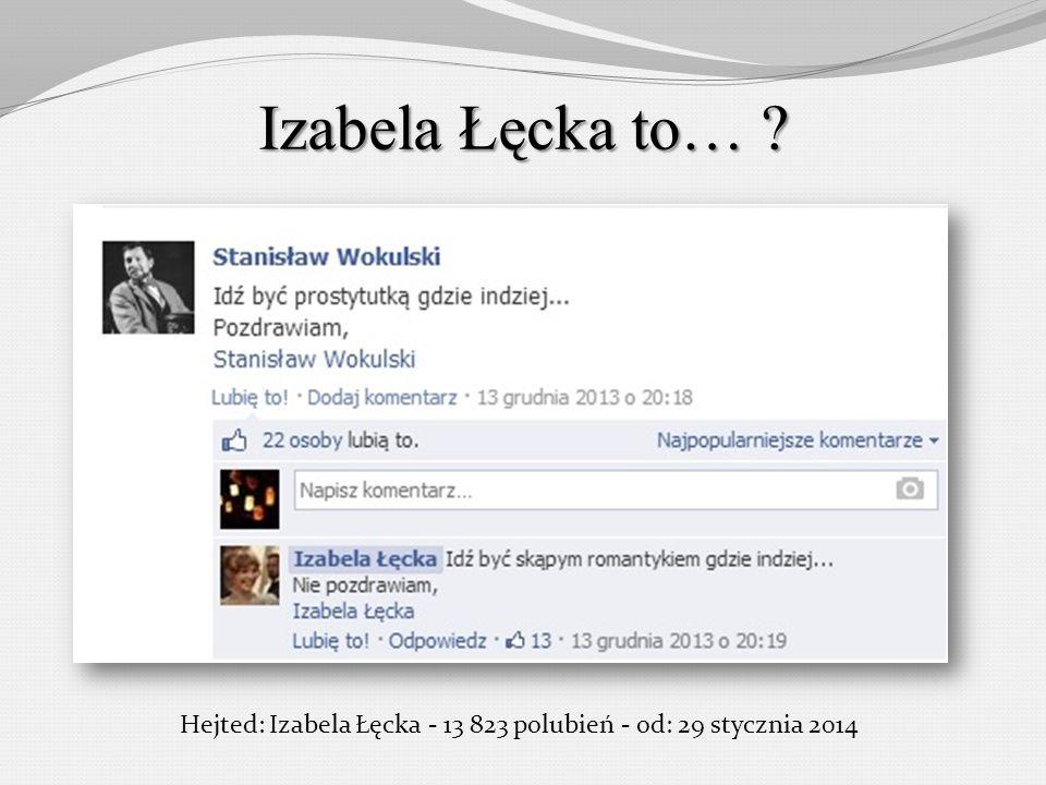 Izabela Łęcka to… ? Hejted: Izabela Łęcka - 13 823 polubień - od: 29 stycznia 2014