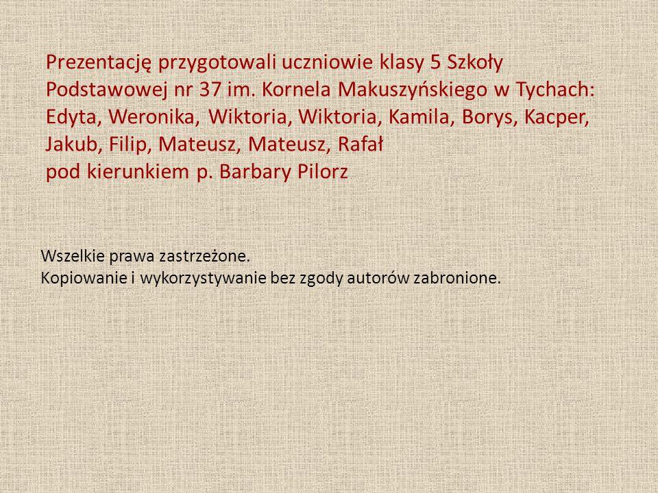 Prezentację przygotowali uczniowie klasy 5 Szkoły Podstawowej nr 37 im. Kornela Makuszyńskiego w Tychach: Edyta, Weronika, Wiktoria, Wiktoria, Kamila,
