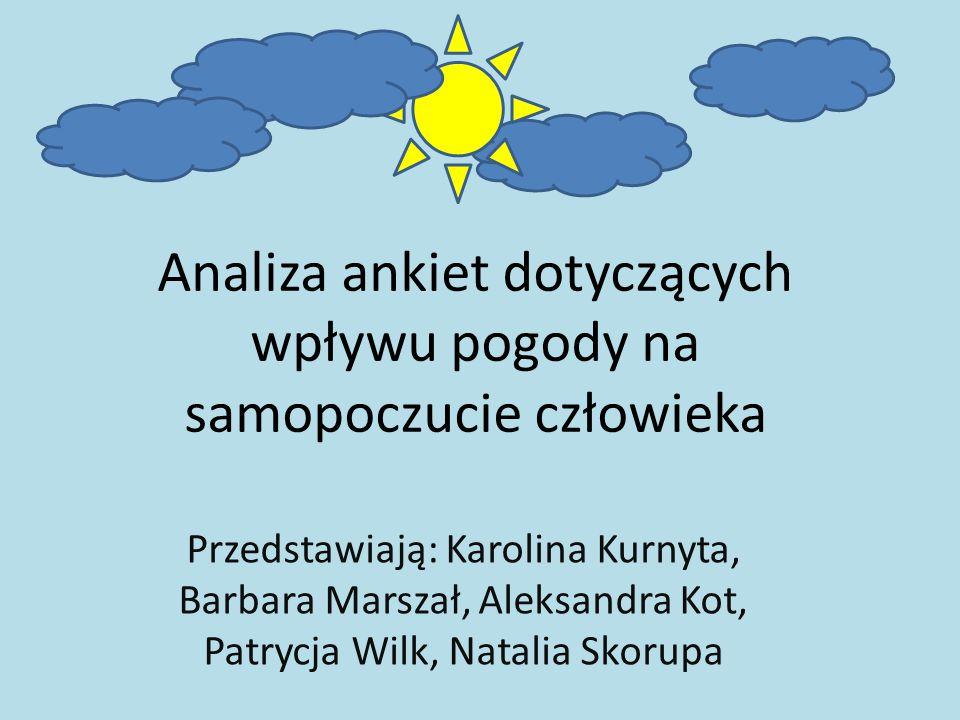 Analiza ankiet dotyczących wpływu pogody na samopoczucie człowieka Przedstawiają: Karolina Kurnyta, Barbara Marszał, Aleksandra Kot, Patrycja Wilk, Natalia Skorupa