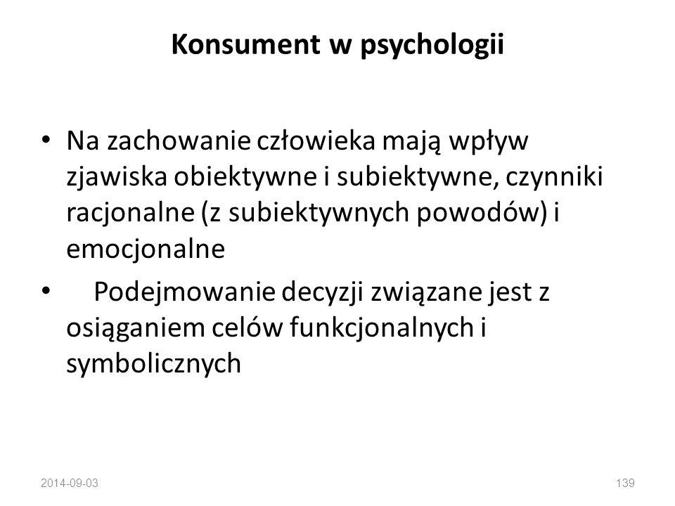 2014-09-03138  Różne koncepcje człowieka dotyczące motywów i mechanizmów zachowania  Zachowanie konsumenta zależy od znacznie większej liczby czynników niż tylko dochód lub cena: zewnętrznych (sub/kultura, oddziaływania marketingowe, opinie znajomych) wewnętrznych (system wartości, inteligencja, osobowość, motywacja, postawy, zaangażowanie, psychologiczne mechanizmy zachowania) Konsument w psychologii