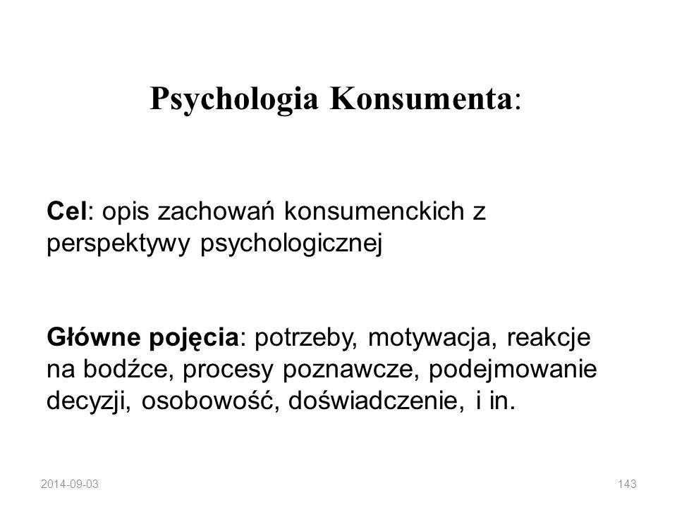 Konsument w psychologii Konsumpcja – złożony proces zaspokajania wielu potrzeb: ekonomicznych, funkcjonalnych, psychologicznych, społecznych 2014-09-03142