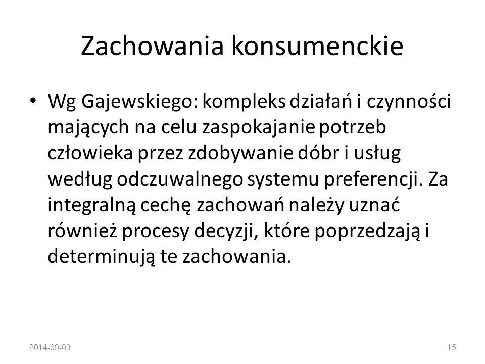 Zachowania konsumenckie Wg Schiffmana i Kanuka: działanie związane z poszukiwaniem, zakupem, użytkowaniem i oceną dóbr i usług, które mają zdolność zaspokajania potrzeb 2014-09-0314