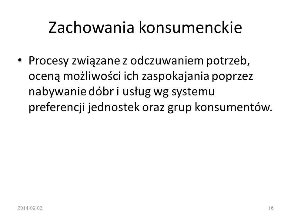 Zachowania konsumenckie Wg Gajewskiego: kompleks działań i czynności mających na celu zaspokajanie potrzeb człowieka przez zdobywanie dóbr i usług według odczuwalnego systemu preferencji.