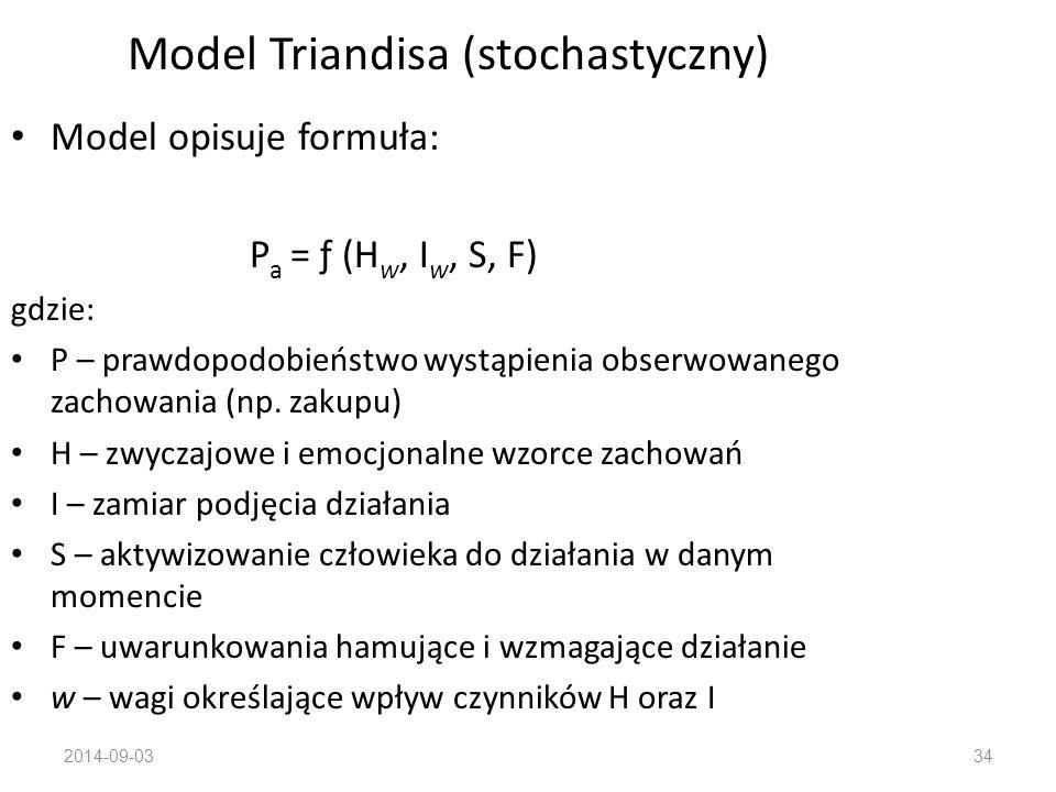 2014-09-0333 Model Markowa (stochastyczny) Zachowanie konsumentów jest ciągłym procesem decyzyjnym, w którym osiągnięcie jakiegoś stanu w pewnym okres