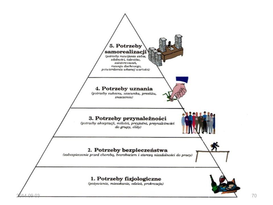 Podział potrzeb Hierarchia potrzeb Maslowa: potrzeby fizjologiczne (np. głód, pragnienie, schronienie, sen), potrzeby bezpieczeństwa (np. pewność, opi
