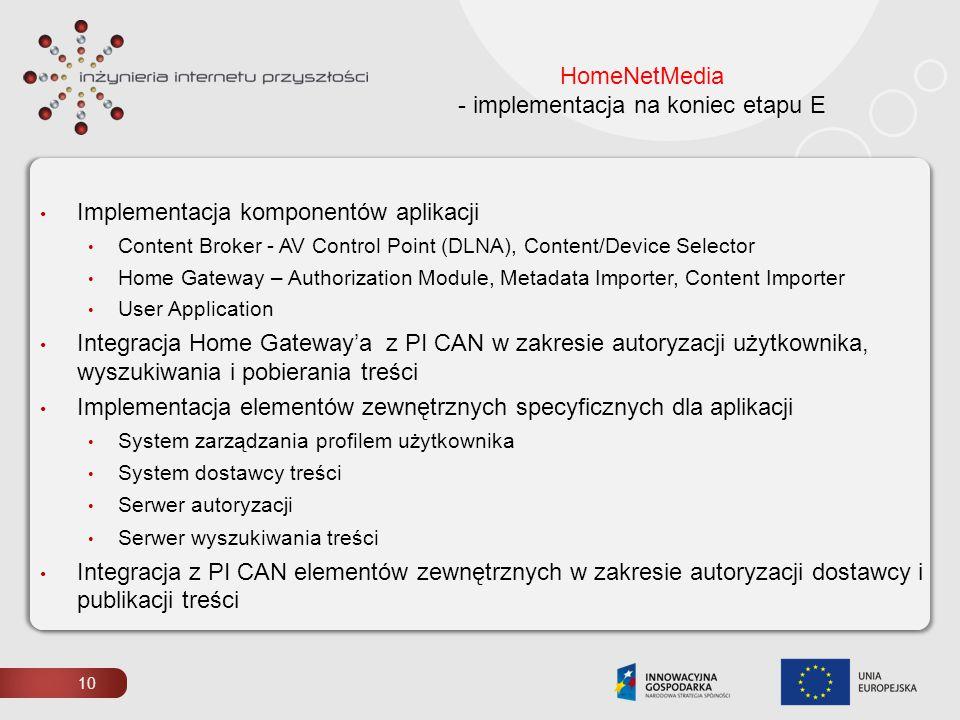 10 HomeNetMedia - implementacja na koniec etapu E Implementacja komponentów aplikacji Content Broker - AV Control Point (DLNA), Content/Device Selecto
