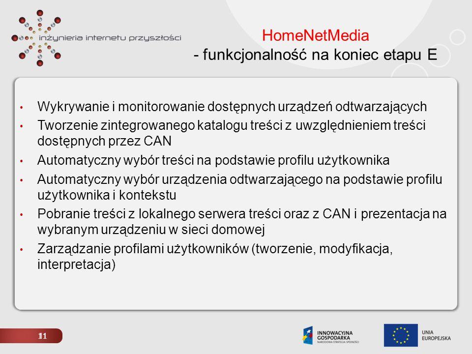 11 HomeNetMedia - funkcjonalność na koniec etapu E Wykrywanie i monitorowanie dostępnych urządzeń odtwarzających Tworzenie zintegrowanego katalogu tre