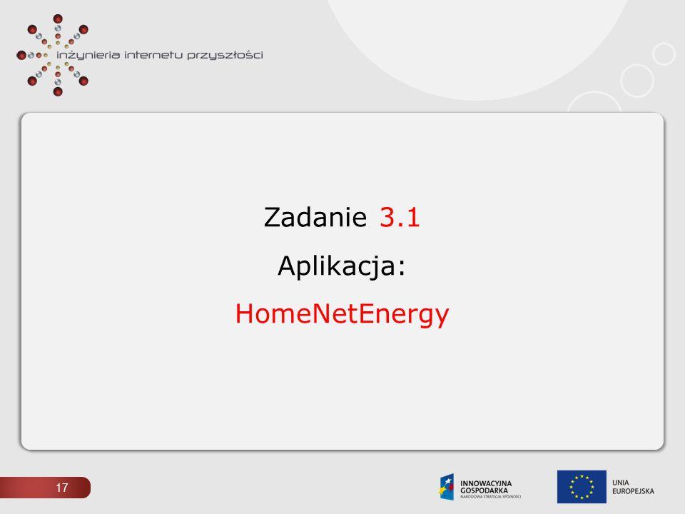 17 Zadanie 3.1 Aplikacja: HomeNetEnergy