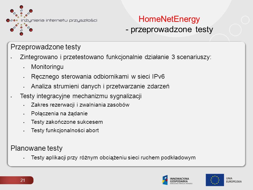 21 HomeNetEnergy - przeprowadzone testy Przeprowadzone testy Zintegrowano i przetestowano funkcjonalnie działanie 3 scenariuszy: Monitoringu Ręcznego
