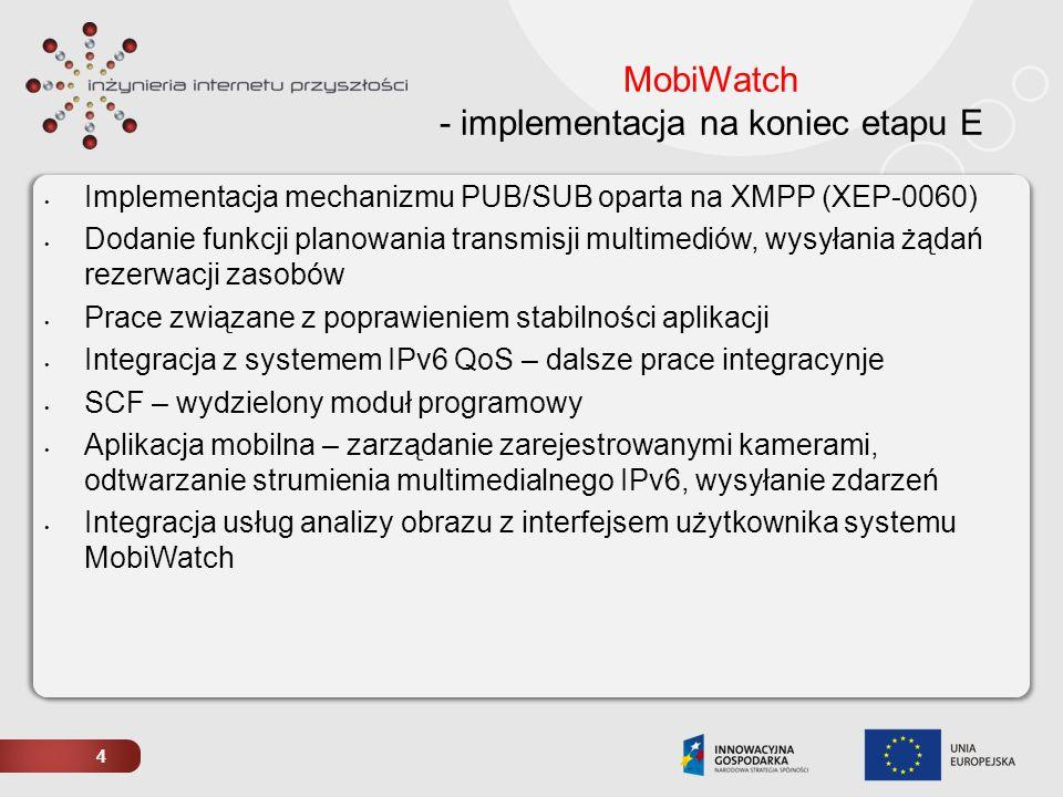 4 MobiWatch - implementacja na koniec etapu E Implementacja mechanizmu PUB/SUB oparta na XMPP (XEP-0060) Dodanie funkcji planowania transmisji multime