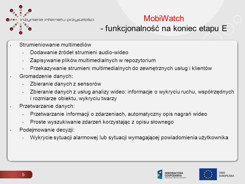 5 MobiWatch - funkcjonalność na koniec etapu E Strumieniowanie multimediów Dodawanie źródeł strumieni audio-wideo Zapisywanie plików multimedialnych w
