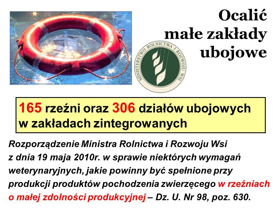 Ocalić małe zakłady ubojowe Rozporządzenie Ministra Rolnictwa i Rozwoju Wsi z dnia 19 maja 2010r. w sprawie niektórych wymagań weterynaryjnych, jakie