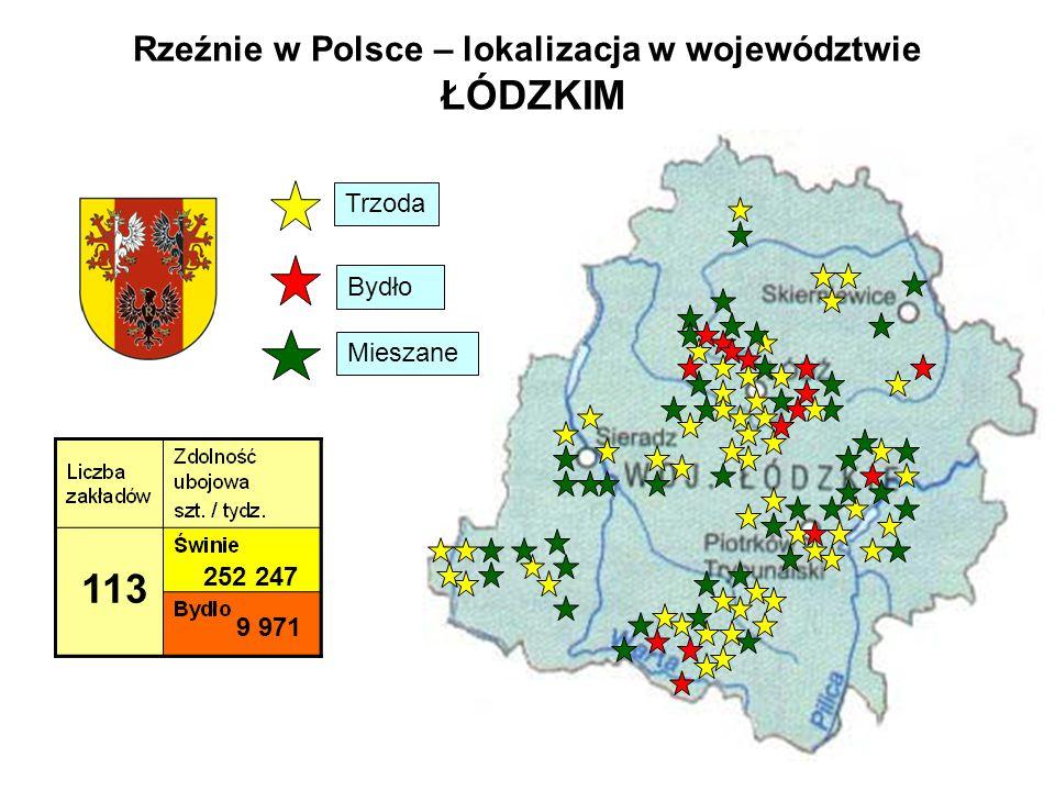 Rzeźnie w Polsce – lokalizacja w województwie ŁÓDZKIM 113 252 247 9 971 Trzoda Bydło Mieszane