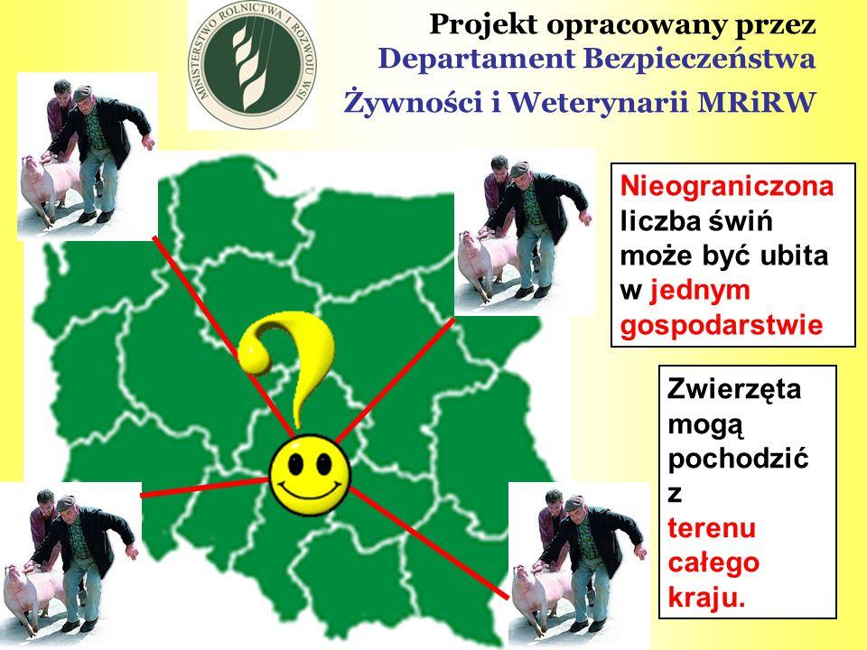 Projekt opracowany przez Departament Bezpieczeństwa Żywności i Weterynarii MRiRW Nieograniczona liczba świń może być ubita w jednym gospodarstwie Zwie