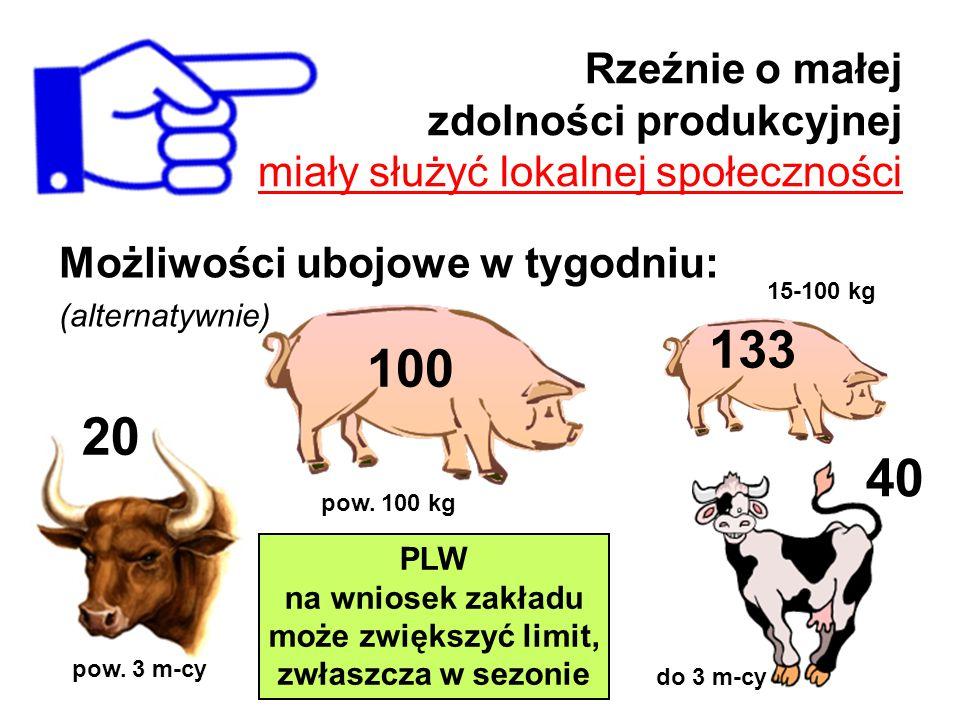 Rzeźnie o małej zdolności produkcyjnej miały służyć lokalnej społeczności Możliwości ubojowe w tygodniu: (alternatywnie) 100 133 20 40 pow. 3 m-cy pow