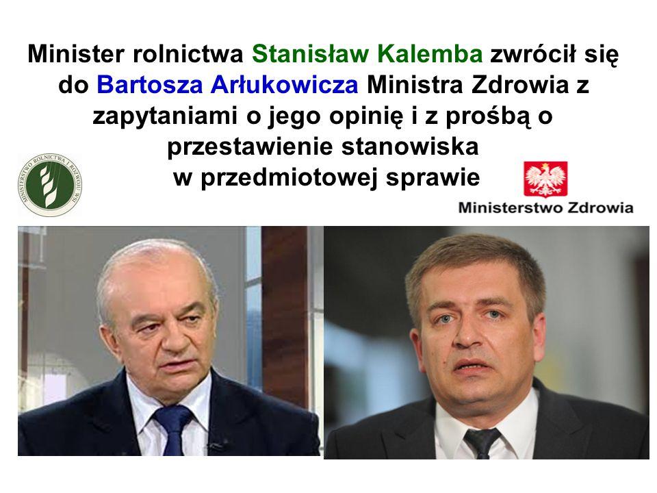 Minister rolnictwa Stanisław Kalemba zwrócił się do Bartosza Arłukowicza Ministra Zdrowia z zapytaniami o jego opinię i z prośbą o przestawienie stano