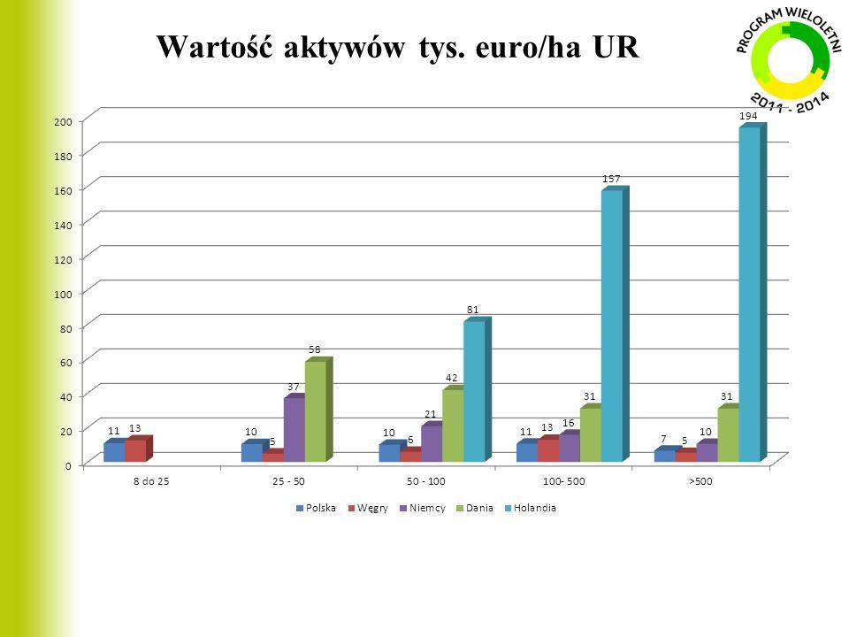 Wartość aktywów tys. euro/ha UR