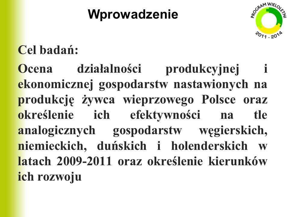 Wprowadzenie Cel badań: Ocena działalności produkcyjnej i ekonomicznej gospodarstw nastawionych na produkcję żywca wieprzowego Polsce oraz określenie