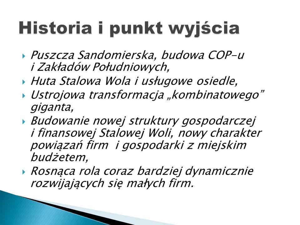 """ Puszcza Sandomierska, budowa COP-u i Zakładów Południowych,  Huta Stalowa Wola i usługowe osiedle,  Ustrojowa transformacja """"kombinatowego"""" gigant"""