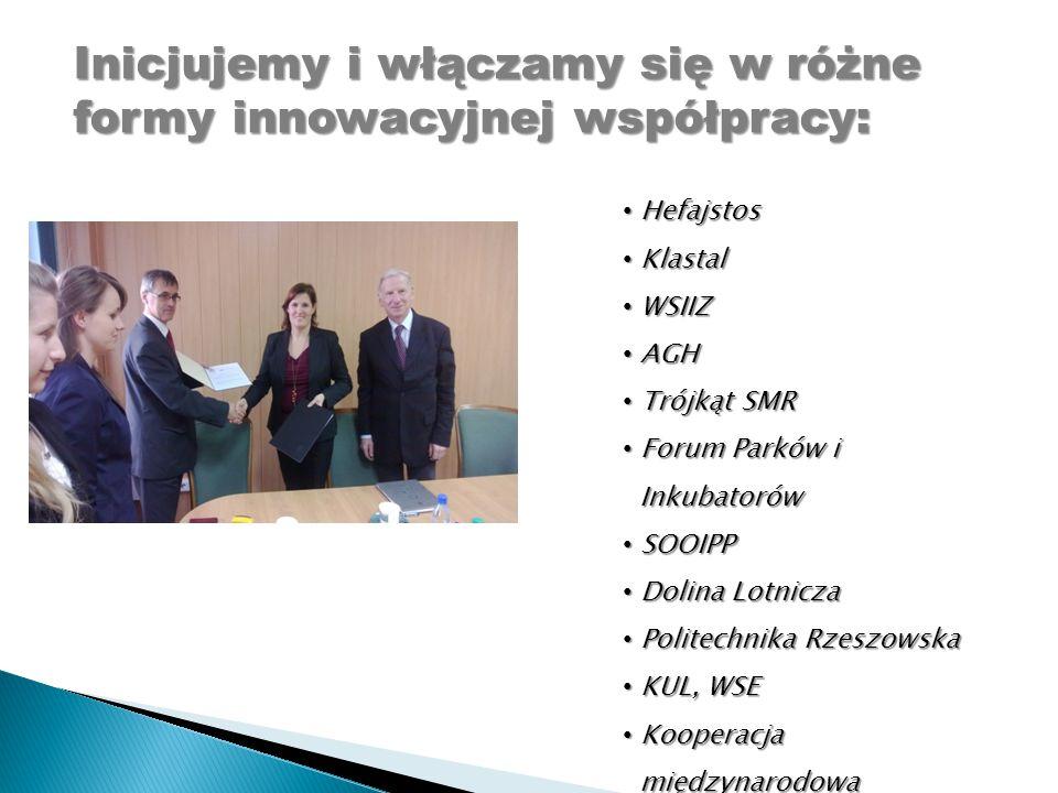Inicjujemy i włączamy się w różne formy innowacyjnej współpracy: Hefajstos Hefajstos Klastal Klastal WSIIZ WSIIZ AGH AGH Trójkąt SMR Trójkąt SMR Forum