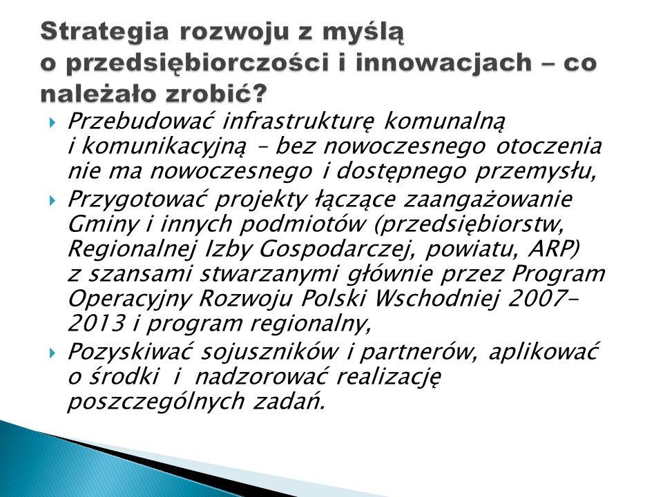  Przebudować infrastrukturę komunalną i komunikacyjną – bez nowoczesnego otoczenia nie ma nowoczesnego i dostępnego przemysłu,  Przygotować projekty łączące zaangażowanie Gminy i innych podmiotów (przedsiębiorstw, Regionalnej Izby Gospodarczej, powiatu, ARP) z szansami stwarzanymi głównie przez Program Operacyjny Rozwoju Polski Wschodniej 2007- 2013 i program regionalny,  Pozyskiwać sojuszników i partnerów, aplikować o środki i nadzorować realizację poszczególnych zadań.