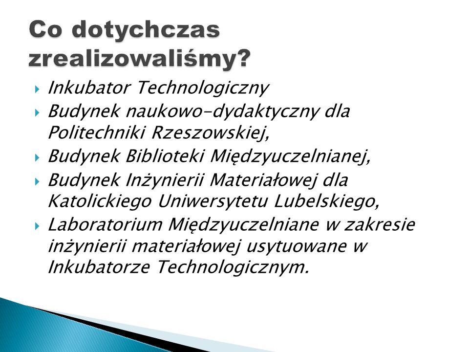  Inkubator Technologiczny  Budynek naukowo-dydaktyczny dla Politechniki Rzeszowskiej,  Budynek Biblioteki Międzyuczelnianej,  Budynek Inżynierii Materiałowej dla Katolickiego Uniwersytetu Lubelskiego,  Laboratorium Międzyuczelniane w zakresie inżynierii materiałowej usytuowane w Inkubatorze Technologicznym.