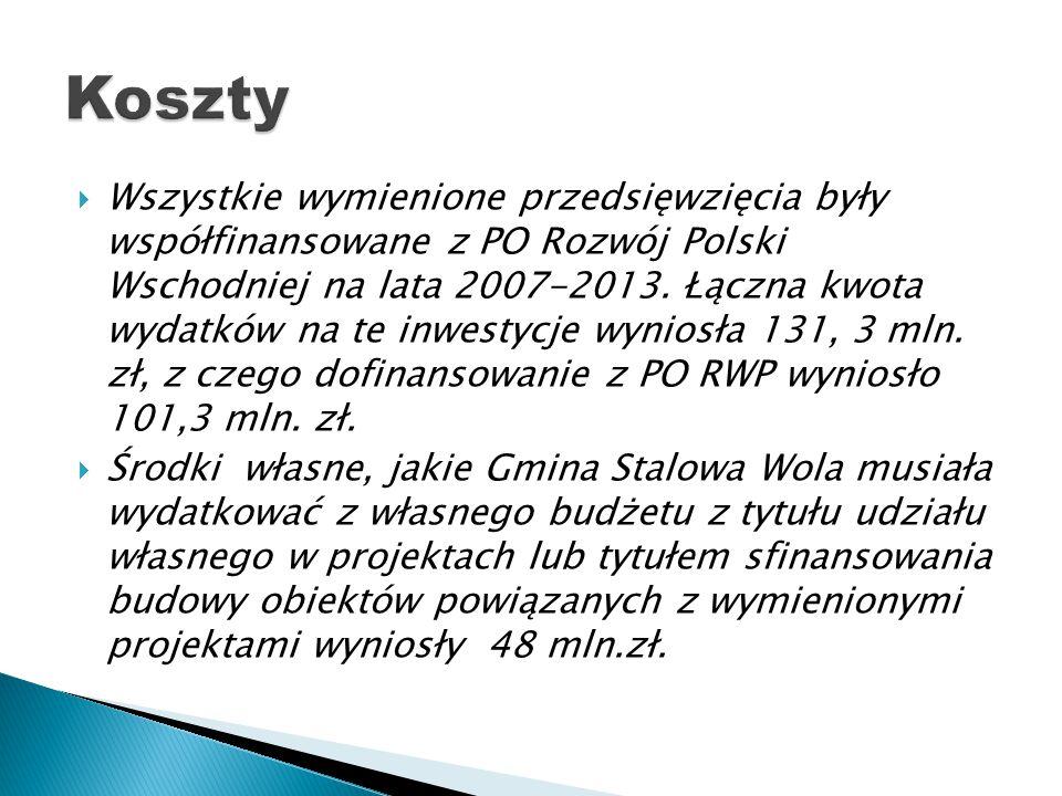  Wszystkie wymienione przedsięwzięcia były współfinansowane z PO Rozwój Polski Wschodniej na lata 2007-2013. Łączna kwota wydatków na te inwestycje w