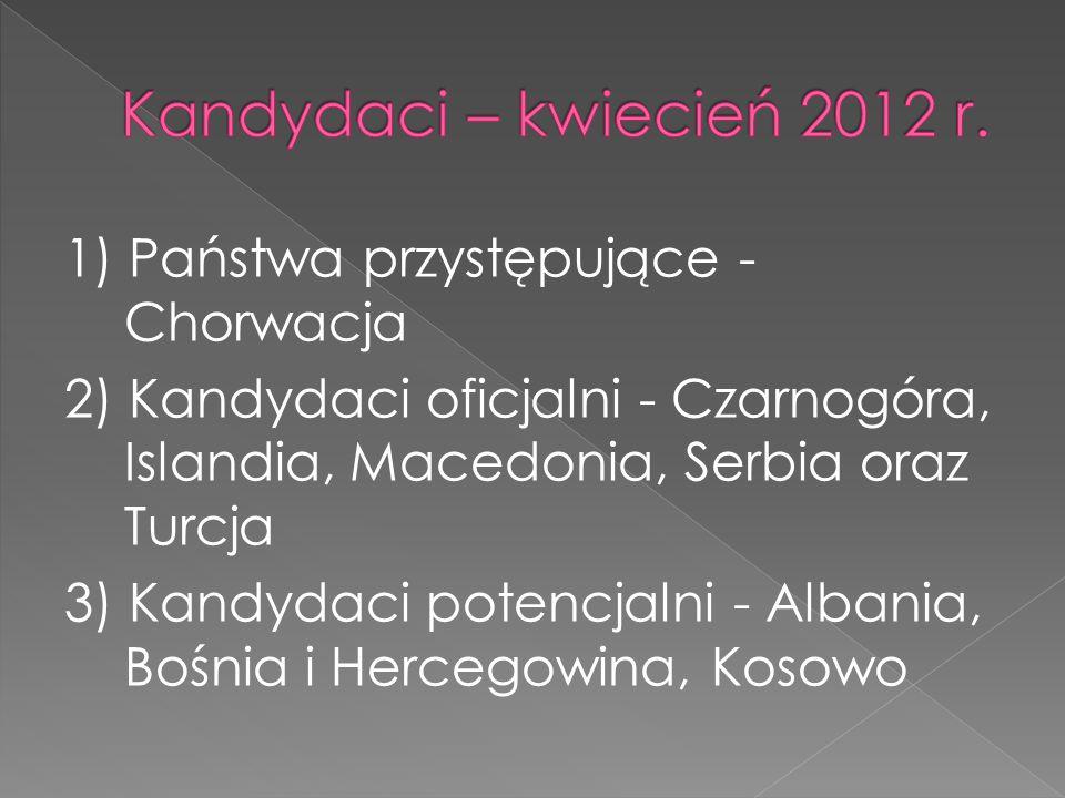 1) Państwa przystępujące - Chorwacja 2) Kandydaci oficjalni - Czarnogóra, Islandia, Macedonia, Serbia oraz Turcja 3) Kandydaci potencjalni - Albania, Bośnia i Hercegowina, Kosowo