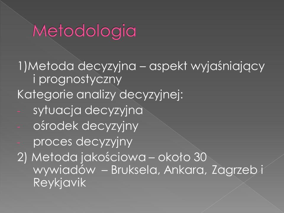 1)Metoda decyzyjna – aspekt wyjaśniający i prognostyczny Kategorie analizy decyzyjnej : - sytuacja decyzyjna - ośrodek decyzyjny - proces decyzyjny 2) Metoda jakościowa – około 30 wywiadów – Bruksela, Ankara, Zagrzeb i Reykjavik