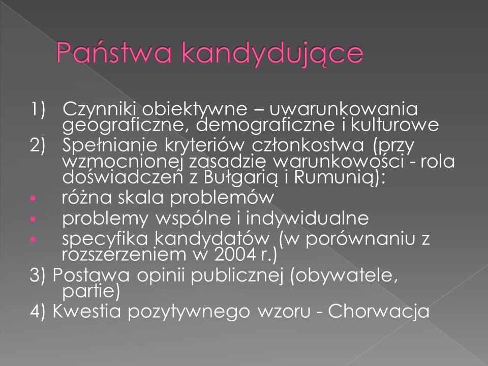 1) Czynniki obiektywne – uwarunkowania geograficzne, demograficzne i kulturowe 2) Spełnianie kryteriów członkostwa (przy wzmocnionej zasadzie warunkowości - rola doświadczeń z Bułgarią i Rumunią):  różna skala problemów  problemy wspólne i indywidualne  specyfika kandydatów (w porównaniu z rozszerzeniem w 2004 r.) 3) Postawa opinii publicznej (obywatele, partie) 4) Kwestia pozytywnego wzoru - Chorwacja