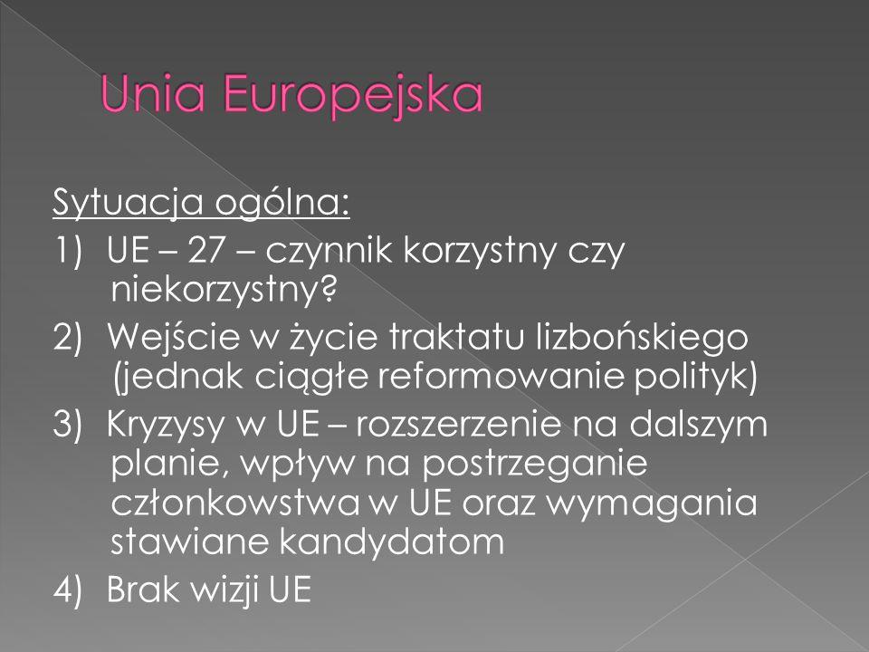 Sytuacja ogólna: 1) UE – 27 – czynnik korzystny czy niekorzystny.