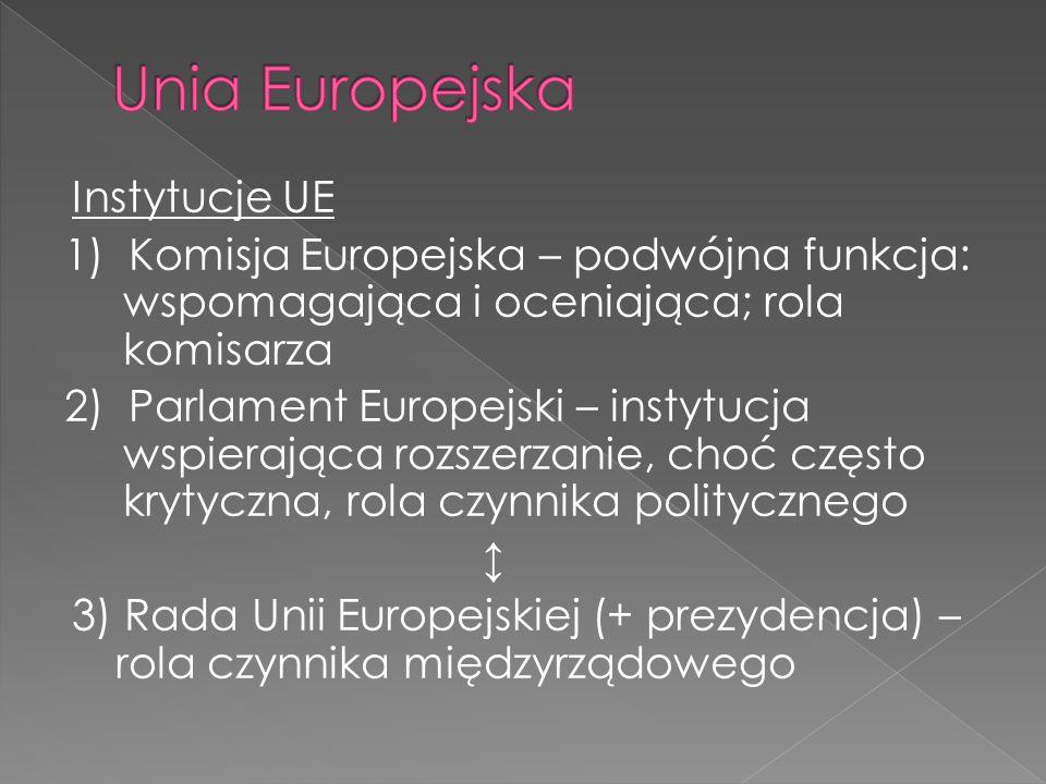 Instytucje UE 1) Komisja Europejska – podwójna funkcja: wspomagająca i oceniająca; rola komisarza 2) Parlament Europejski – instytucja wspierająca rozszerzanie, choć często krytyczna, rola czynnika politycznego ↕ 3) Rada Unii Europejskiej (+ prezydencja) – rola czynnika międzyrządowego