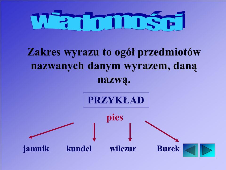 Zakres wyrazu to ogół przedmiotów nazwanych danym wyrazem, daną nazwą.