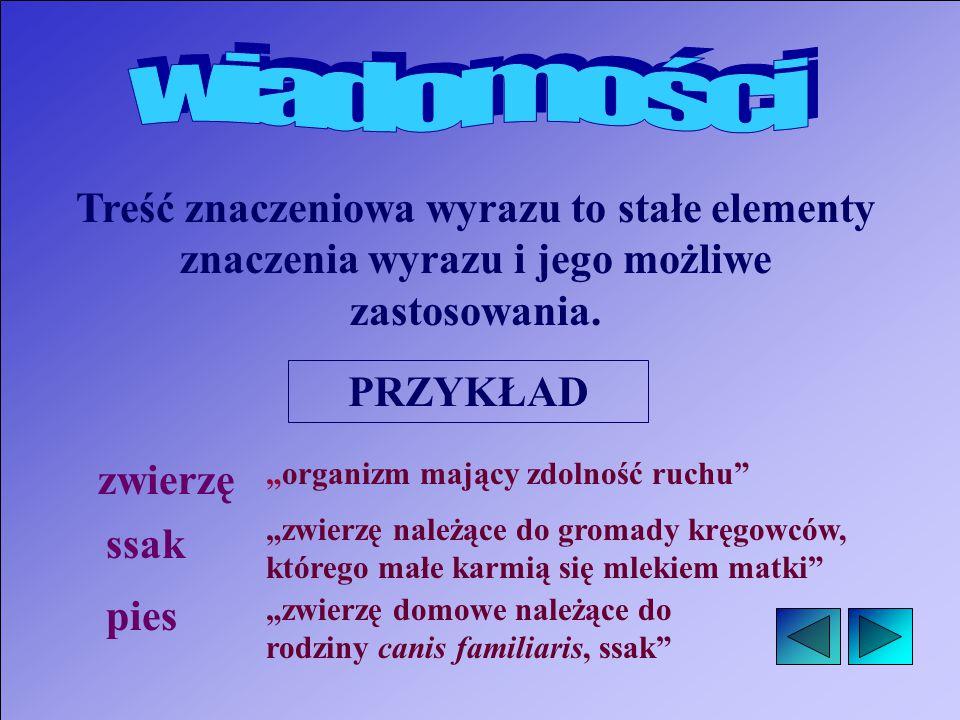 Treść znaczeniowa wyrazu to stałe elementy znaczenia wyrazu i jego możliwe zastosowania.