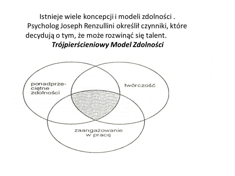 Zgodnie z koncepcją Josepha Renzulliniego o uzdolnieniach można mówić wtedy, kiedy dochodzi do interakcji pomiędzy: -ponadprzeciętnymi zdolnościami- są to zdolności,których pomiar dokonuje się przy pomocy testów do badania inteligencji ogólnej oraz zdolności specjalnych, -twórczość – odnosi się do zachowań kreacji i sposobów dochodzenia do rozwiązań - zaangażowanie w zadanie- motywacja, wytrzymałość, pracowitość.
