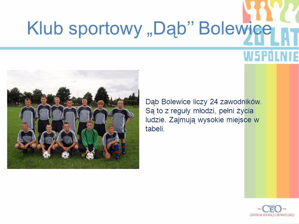 """Klub sportowy """"Dąb'' Bolewice Dąb Bolewice liczy 24 zawodników. Są to z reguły młodzi, pełni życia ludzie. Zajmują wysokie miejsce w tabeli."""