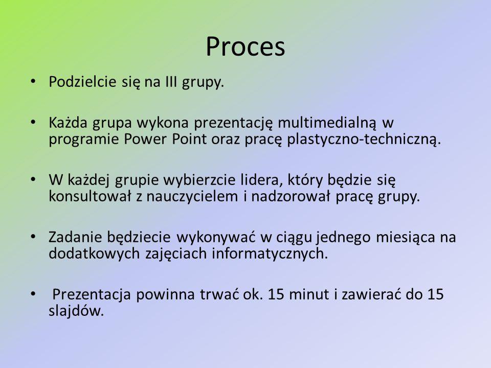 Proces Podzielcie się na III grupy. Każda grupa wykona prezentację multimedialną w programie Power Point oraz pracę plastyczno-techniczną. W każdej gr
