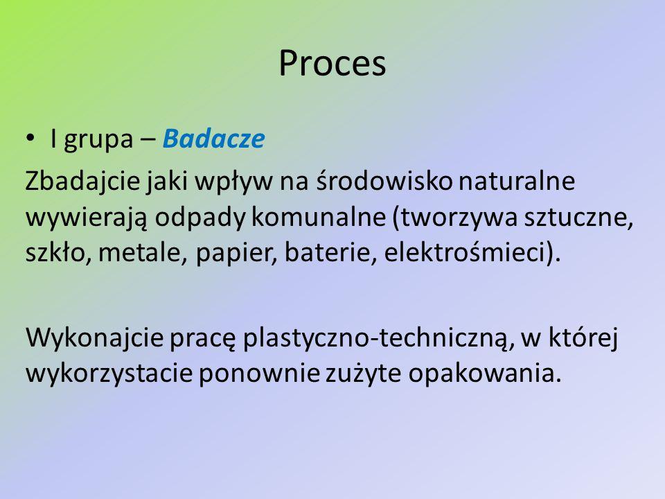 Proces I grupa – Badacze Zbadajcie jaki wpływ na środowisko naturalne wywierają odpady komunalne (tworzywa sztuczne, szkło, metale, papier, baterie, e
