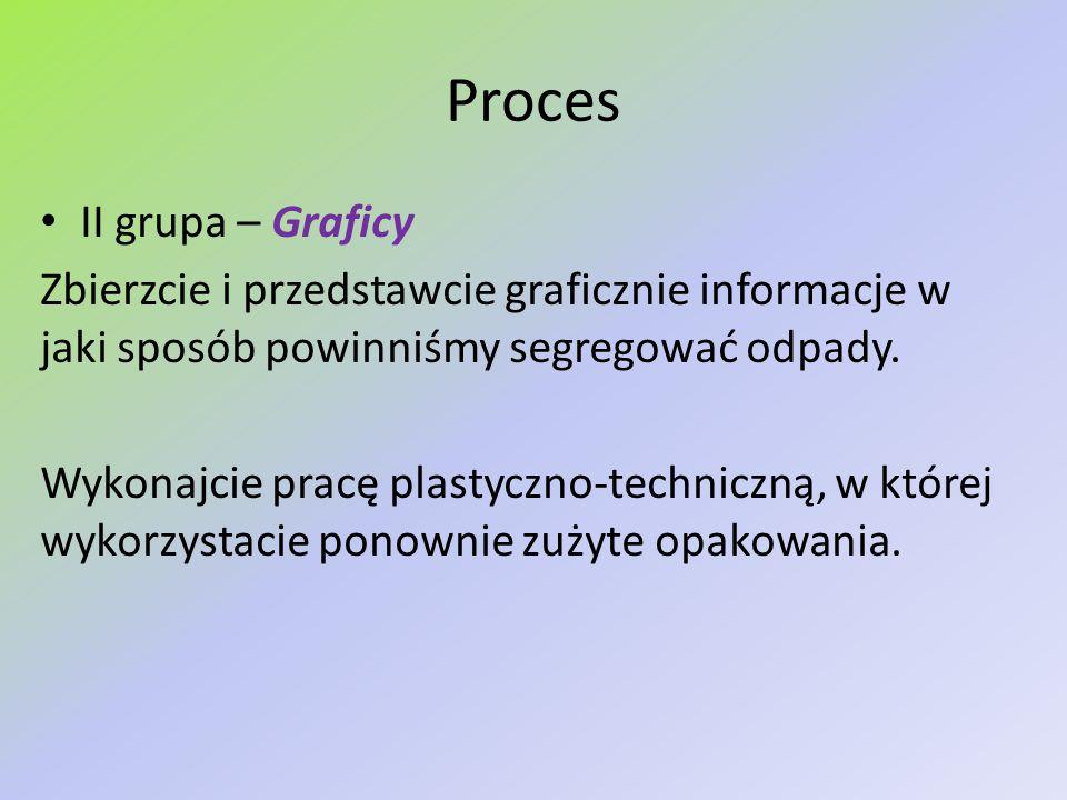 Proces II grupa – Graficy Zbierzcie i przedstawcie graficznie informacje w jaki sposób powinniśmy segregować odpady. Wykonajcie pracę plastyczno-techn