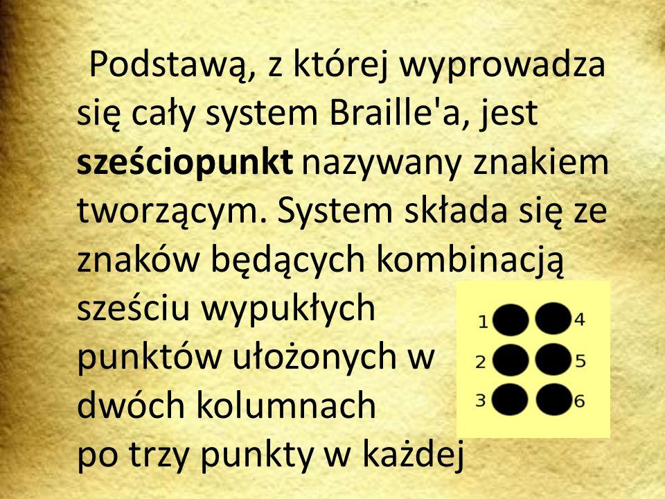 Podstawą, z której wyprowadza się cały system Braille'a, jest sześciopunkt nazywany znakiem tworzącym. System składa się ze znaków będących kombinacją